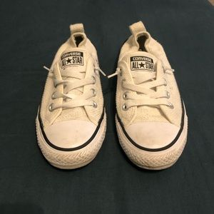 Converse white slip ons